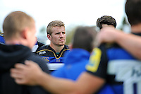 Jonathan Evans of Bath Rugby looks on in a post-match huddle. West Country Challenge Cup match, between Gloucester Rugby and Bath Rugby on September 13, 2015 at the Memorial Stadium in Bristol, England. Photo by: Patrick Khachfe / Onside Images