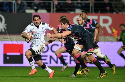 19.02.2016. Paris, France. Top 14 rugby union. Stade Francais versus Brive.  Amanaki Mafi (bri) challenges Alexandre Flanquart (stade)
