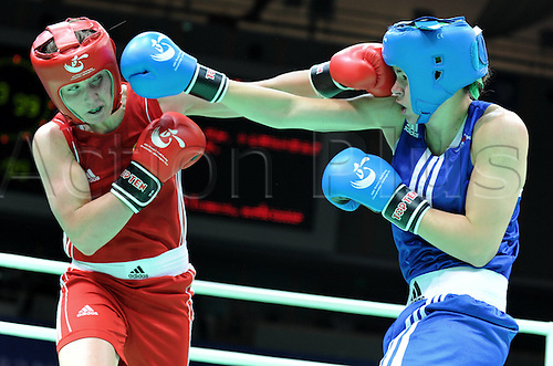 19.05.2012. Qinhuangdao China.  Gold medalist Savannah Marshall of England clashes with Elena  of Azerbaijan during the womens 75kg Final at The AIBA Elite Women World Championship in Qinhuangdao North Chinas Hebei Province May 19 2012