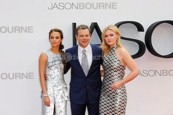 LONDON, ENGLAND - JULY 11: Alicia Vikander, Matt Damon and Julia Stiles attending the 'Jason Bourne' European Premiere at Odeon Cinema, Leicester Square on July 11, 2016 in London, England.<br /> CAP/MAR<br /> &copy;MAR/Capital Pictures /MediaPunch ***NORTH AND SOUTH AMERICAS ONLY***