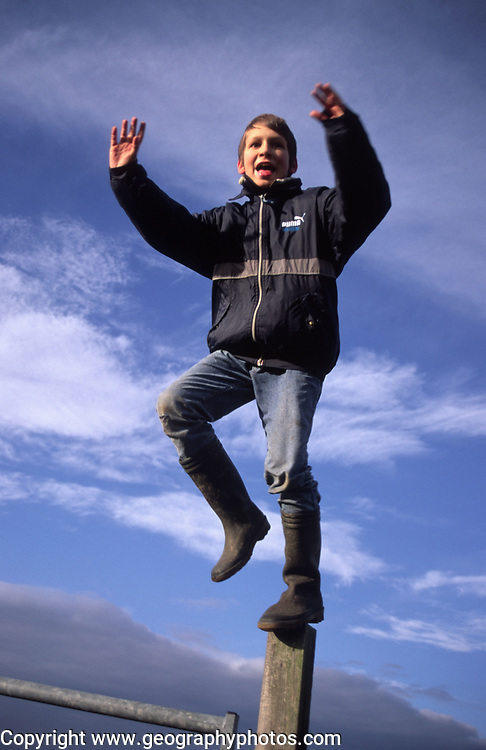 ARM4D6 Child standing on fence post against blue cloud sky background