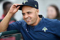 Hitting coach Joel Fuentes (12) of the Columbia Fireflies before a game against the Charleston RiverDogs on Monday, August 7, 2017, at Spirit Communications Park in Columbia, South Carolina. Columbia won, 6-4. (Tom Priddy/Four Seam Images)
