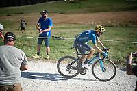 Alejandro Valverde (ESP/Movistar) at the gravel section atop the Montée du plateau des Glières (HC/1390m)<br /> <br /> Stage 18 from Méribel to La Roche-sur-Foron (175km)<br /> <br /> 107th Tour de France 2020 (2.UWT)<br /> (the 'postponed edition' held in september)<br /> <br /> ©kramon