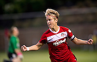 Lori Lindsey (6) of the Washington Spirit celebrates her goal during the game at the Maryland SoccerPlex in Boyds, MD.  Washington tied Boston, 1-1.