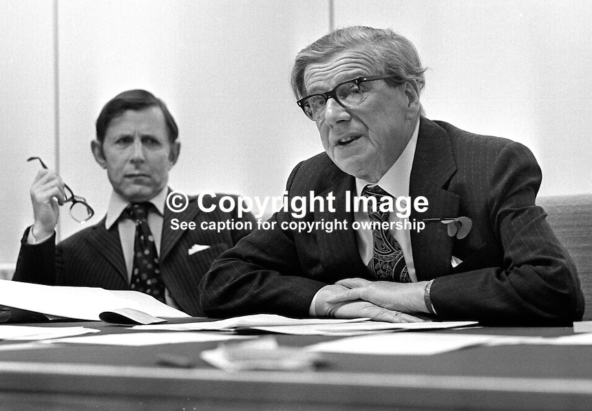 Lord Feather, formerly Vic Feather, general secretary, TUC, UK, chairman of the Advisory Commission on Human Rights, speaking at a press conference in Belfast, N Ireland, on the body's White Paper. He is accompanied by Mr Lionel Jacobs, secretary to the Commission. 197511060718VF..Copyright Image from Victor Patterson, 54 Dorchester Park, Belfast, UK, BT9 6RJ..Tel: +44 28 9066 1296.Mob: +44 7802 353836.Voicemail +44 20 8816 7153.Skype: victorpattersonbelfast.Email: victorpatterson@me.com.Email: victorpatterson@ireland.com (back-up)..IMPORTANT: If you wish to use this image or any other of my images please go to www.victorpatterson.com and click on the Terms & Conditions. Then contact me by email or phone with the reference number(s) of the image(s) concerned.