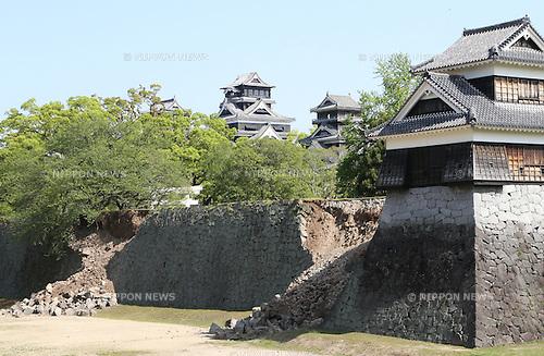 Kumamoto, Japan - April 15 : Several landslides were seen at Kumamoto Castle as Kumamoto Earthquake last night happened at Kumamoto-shi, Kumamoto, Japan. The photograph was taken on April 15th, 2016. (Photo by Chiaki Kodama/AFLO)