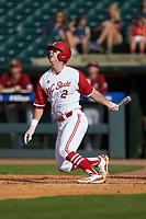 Andy Cosgrove (2) of the North Carolina State Wolfpack follows through on his swing against the Boston College Eagles in Game Two of the 2017 ACC Baseball Championship at Louisville Slugger Field on May 23, 2017 in Louisville, Kentucky. The Wolfpack defeated the Eagles 6-1. (Brian Westerholt/Four Seam Images)