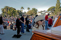 "San Diego Civic Organist Dr. Carol Williams preforms ""All Creatures Great and Small"" as members of the San Diego Dachshund Club and their dogs  parade across the stage at the Spreckels Organ in Balboa Park, San Diego California, December 23rd, 2007."