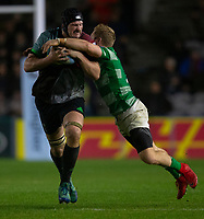 Harlequins' Matt Symons is tackled by Newcastle Falcons' Alex Tait<br /> <br /> Photographer Bob Bradford/CameraSport<br /> <br /> Gallagher Premiership Round 7 - Harlequins v Newcastle Falcons - Friday 16th November 2018 - Twickenham Stoop - London<br /> <br /> World Copyright © 2018 CameraSport. All rights reserved. 43 Linden Ave. Countesthorpe. Leicester. England. LE8 5PG - Tel: +44 (0) 116 277 4147 - admin@camerasport.com - www.camerasport.com