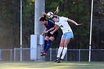 CARY, NC - APRIL 08: Courage's Elizabeth Eddy (left) and North Carolina's Dorian Bailey (29) challenge for a header. The NWSL's North Carolina Courage played a preseason game against the University of North Carolina Tar Heels on April 8, 2017, at WakeMed Soccer Park Field 3 in Cary, NC. The Courage won the match 1-0.