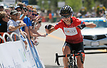 August 11, 2017 - Breckenridge, Colorado, U.S. -   Team Rally rider, Sara Poidevin, wearing the Queen of the Mountain Jersey celebrates her Stage Two win and overall championship in the inaugural Colorado Classic cycling race, Breckenridge, Colorado.  Sara Poidevin wins the Women's Colorado Classic.