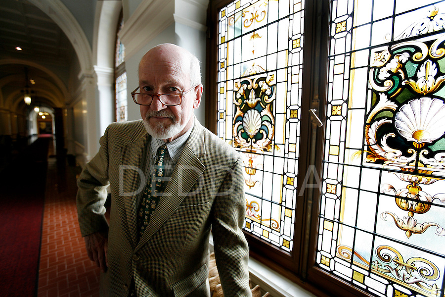 George MacMinn, the clerk of the British Columbia Legislature, stands in the hallway outside his office at the Legislature in Victoria. MacMinn is marking 50 years of working in the house. Photo assignment for the Globe and Mail national newspaper in Canada.