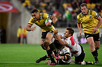 Hurricanes&rsquo; Ngani Laumape in action during the Super Rugby - Hurricanes v Lions at Westpac Stadium, Wellington, New Zealand on Saturday 5 May 2018.<br /> Photo by Masanori Udagawa. <br /> www.photowellington.photoshelter.com