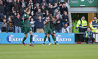Jordan Slew of Plymouth Argyle (centre) celebrates scoring his side's first goal during the Sky Bet League 2 match between Plymouth Argyle and Wycombe Wanderers at Home Park, Plymouth, England on 26 December 2016. Photo by Mark  Hawkins / PRiME Media Images.