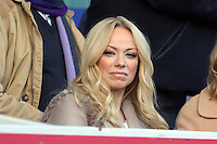 Pictured: Former Atomic Kittens singer Liz McClarnon watching the game, she had a relationship with Swansea's Lee Trundle a few years ago. Sunday 16 February 2014<br />