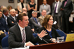 Nevada Senate Republicans Ben Kieckhefer and Becky Harris present a proposal that would suspend the prevailing wage rules for contractors on school constructions projects at the Legislative Building in Carson City, Nev., on Wednesday, Feb. 4, 2015. <br /> Photo by Cathleen Allison