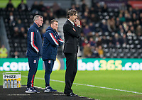 31st January 2020; Pride Park, Derby, East Midlands; English Championship Football, Derby County versus Stoke City; Derby County Manager Phillip Cocu and Stoke City Manager Michael O'Neill in the managers box during the second half