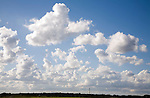 White cumulus clouds in blue summer sky Suffolk, England