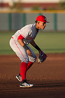 AZL Reds third baseman Debby Santana (7) during an Arizona League game against the AZL Cubs 2 at Sloan Park on June 18, 2018 in Mesa, Arizona. AZL Cubs 2 defeated the AZL Reds 4-3. (Zachary Lucy/Four Seam Images)