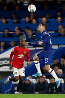 30th October 2019; Stamford Bridge, London, England; English Football League Cup, Carabao Cup, Chelsea Football Club versus Manchester United; Christian Pulisic of Chelsea lines up a header - Strictly Editorial Use Only. No use with unauthorized audio, video, data, fixture lists, club/league logos or 'live' services. Online in-match use limited to 120 images, no video emulation. No use in betting, games or single club/league/player publications