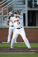 Cody Bohanek (13) of the Buies Creek Astros at bat against the Winston-Salem Dash at Jim Perry Stadium on August 15, 2018 in Buies Creek, North Carolina.  The Astros defeated the Dash 5-0.  (Brian Westerholt/Four Seam Images)