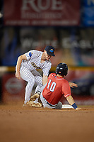 Trenton Thunder shortstop Kyle Holder (6) tags Nash Knight (10) sliding into second base during an Eastern League game against the New Hampshire Fisher Cats on August 20, 2019 at Arm & Hammer Park in Trenton, New Jersey.  New Hampshire defeated Trenton 7-2.  (Mike Janes/Four Seam Images)