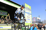 European Champion Matteo Trentin (ITA) Mitchelton-Scott at sign on before the 2019 E3 Harelbeke Binck Bank Classic 2019 running 203.9km from Harelbeke to Harelbeke, Belgium. 29th March 2019.<br /> Picture: Eoin Clarke | Cyclefile<br /> <br /> All photos usage must carry mandatory copyright credit (© Cyclefile | Eoin Clarke)