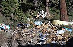 Debris left by a semi truck that crashed over the embankment of Cadillac Curve on Highway 4, south of Markleeville, Ca. in August of 2010, is seen about 1000 feet from the roadway. Crews worked Tuesday, Oct. 12, 2010, to remove the wreckage. The white heap seen near the trees is what's left of a Cadillac that crashed in the 1960's resulting in the name of the curve. .Photo by Cathleen Allison
