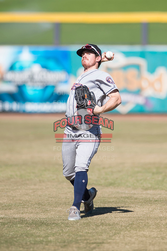 Scottsdale Scorpions center fielder Drew Ferguson (18), of the Houston Astros organization, warms up before an Arizona Fall League game against the Peoria Javelinas at Peoria Sports Complex on November 15, 2018 in Mesa, Arizona. Peoria defeated Scottsdale 2-1. (Zachary Lucy/Four Seam Images)