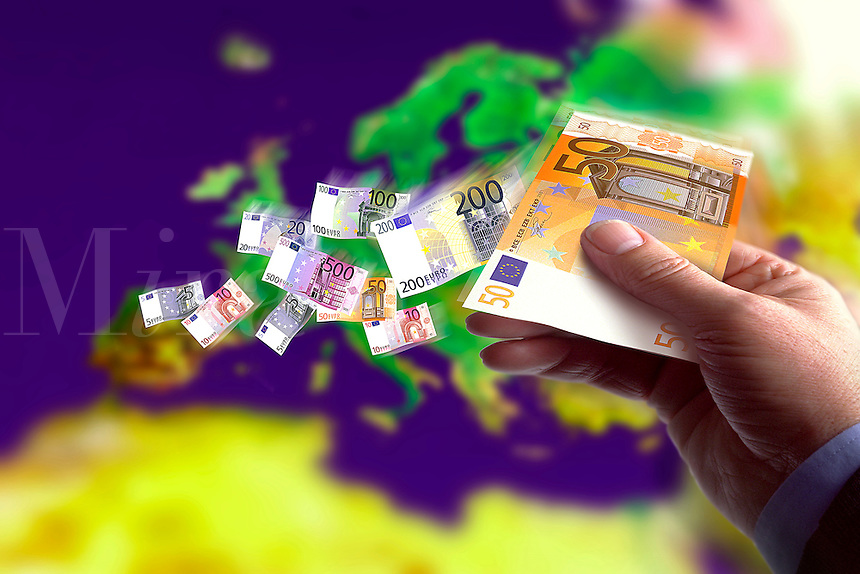 Euro banknotes over Europe.