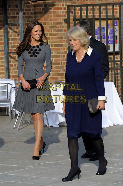 Duchess of Cambridge, Catherine Middleton & Camilla Parker Bowles, The Duchess Of Cornwall .Dulwich Gallery, London, England..March 15th, 2012.kate royal royalty full length grey gray dress fans crowd blue.CAP/CAS.©Bob Cass/Capital Pictures.