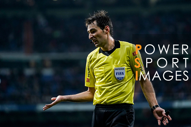 Referee Ricardo de Burgos Bengoetxea reacts during the La Liga 2018-19 match between Real Madrid and Rayo Vallencano at Estadio Santiago Bernabeu on December 15 2018 in Madrid, Spain. Photo by Diego Souto / Power Sport Images