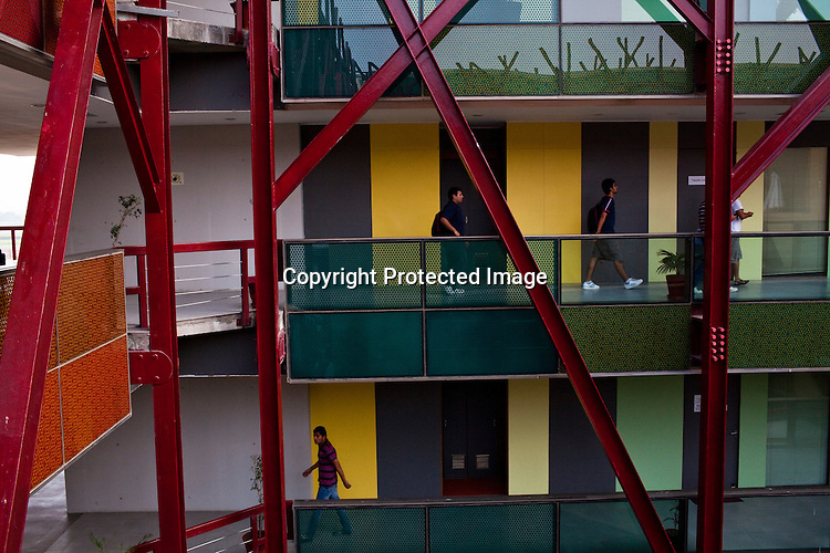 Students walk on the corridors of the Jindal Global University in Sonipat, Haryana, India Photograph: Sanjit Das/Panos