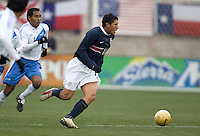 Brian Ching looks upfield at Pizza Hut Park in Frisco, Texas, Sunday, Feb. 19, 2005.  USA won 4-0.