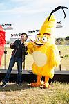 "Jose Mota playing with Yellow Bird during the presentation of the film ""Angry Birds"" at Hipodromo de Zarzuela in Madrid. April 25,2016. (ALTERPHOTOS/Borja B.Hojas)"