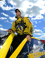 Sept 8, 2012; Clermont, IN, USA: NHRA pro stock driver Jeg Coughlin Jr during qualifying for the US Nationals at Lucas Oil Raceway. Mandatory Credit: Mark J. Rebilas-