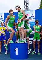 09 JUL 2011 - PARIS, FRA - EC Sartrouville team members climb onto the winners podium at the presentation ceremony for the men's French Grand Prix series race (PHOTO (C) NIGEL FARROW)