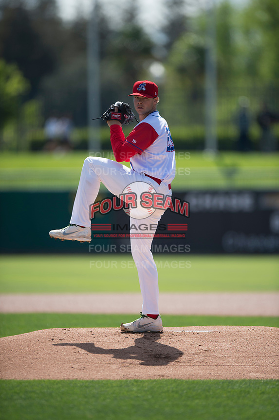 Stockton Ports starting pitcher Daulton Jefferies (20) during a California League game against the San Jose Giants on April 9, 2019 in Stockton, California. San Jose defeated Stockton 4-3. (Zachary Lucy/Four Seam Images)
