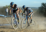 October 17, 2015 - Boulder, Colorado, U.S. - Elite men's cyclist, James Driscoll #10 and Hector Fernando Riveros Paez #48, work their way through a difficult sandy pitch during the U.S. Open of Cyclocross, Valmont Bike Park, Boulder, Colorado.