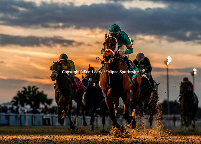 February 15, 2020: #9 Mr. Monomoy and jockey Florent Geroux win the Grade 2 Risen Star Division I during Risen Star Stakes Day at Fair Grounds Race Course in New Orleans, Louisiana. Scott Serio/Eclipse Sportswire/CSM