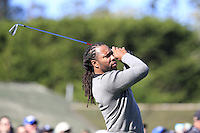 Arizona Cardinals wide receiver Larry Fitzgerald tees off the 1st tee at Pebble Beach Golf Links during Saturday's Round 3 of the 2017 AT&amp;T Pebble Beach Pro-Am held over 3 courses, Pebble Beach, Spyglass Hill and Monterey Penninsula Country Club, Monterey, California, USA. 11th February 2017.<br /> Picture: Eoin Clarke | Golffile<br /> <br /> <br /> All photos usage must carry mandatory copyright credit (&copy; Golffile | Eoin Clarke)