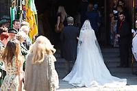 Mariage du Prince Ernst junior de Hanovre et de Ekaterina Malysheva &agrave; l'&eacute;glise Markkirche &agrave; Hanovre.<br /> Allemagne, Hanovre, 8 juillet 2017.<br /> Wedding of Prince Ernst Junior of Hanover and Ekaterina Malysheva at the Markkirche church in Hanover.<br /> Germany, Hanover, 8 july 2017<br /> Pic :  bride Ekaterina Malysheva &amp; her father