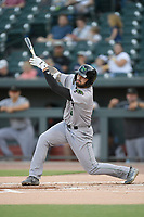 First baseman Francisco Tostado (8) of the Augusta GreenJackets bats in a game against the Columbia Fireflies on Friday, May 31, 2019, at Segra Park in Columbia, South Carolina. Augusta won, 8-6. (Tom Priddy/Four Seam Images)