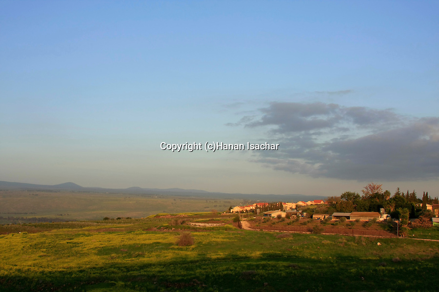 Israel, Upper Galilee, moshav Mishmar Hayarden as seen from Khirbet Yarda.