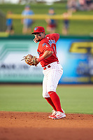Clearwater Threshers second baseman Drew Stankiewicz (15) throws to first base during a game against the Palm Beach Cardinals on April 14, 2017 at Spectrum Field in Clearwater, Florida.  Clearwater defeated Palm Beach 6-2.  (Mike Janes/Four Seam Images)
