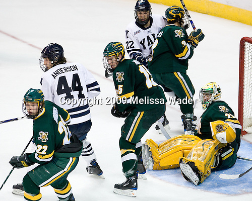 Josh Burrows (Vermont - 22), Jeff Anderson (Yale - 44), Kevan Miller (Vermont - 15), Brendan Mason (Yale - 22), Peter Lenes (Vermont - 3), Rob Madore (Vermont - 29) - The University of Vermont Catamounts defeated the Yale University Bulldogs 4-1 in their NCAA East Regional Semi-Final match on Friday, March 27, 2009, at the Bridgeport Arena at Harbor Yard in Bridgeport, Connecticut.