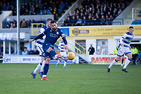 1st February 2020; Cappielow Park, Greenock, Inverclyde, Scotland; Scottish Championship Football, Greenock Morton versus Dundee Football Club; Kane Hemmings of Dundee scores the opening goal to put his side 1-0 ahead in the 12nd minute