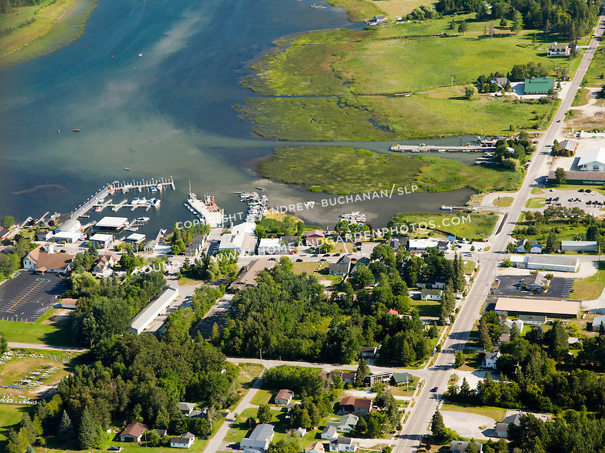 town of Cedarville, town docks, and Islington Channel, Les Cheneaux area of Lake Huron