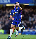 Pedro of Chelsea celebrates scoring his goal to make it 3-0 during the premier league match at Stamford Bridge Stadium, London. Picture date 30th December 2017. Picture credit should read: Robin Parker/Sportimage