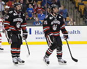 Steve Morra (NU - 12), Kevin Roy (NU - 15) - The Northeastern University Huskies defeated the Boston University Terriers 3-2 in the opening round of the 2013 Beanpot tournament on Monday, February 4, 2013, at TD Garden in Boston, Massachusetts.